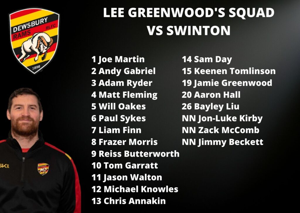 21 Man Squad to face Swinton